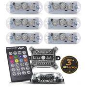 Ajk Kit Strobo Master Rítmico 6 Faróis 8 Cores Central E Controle