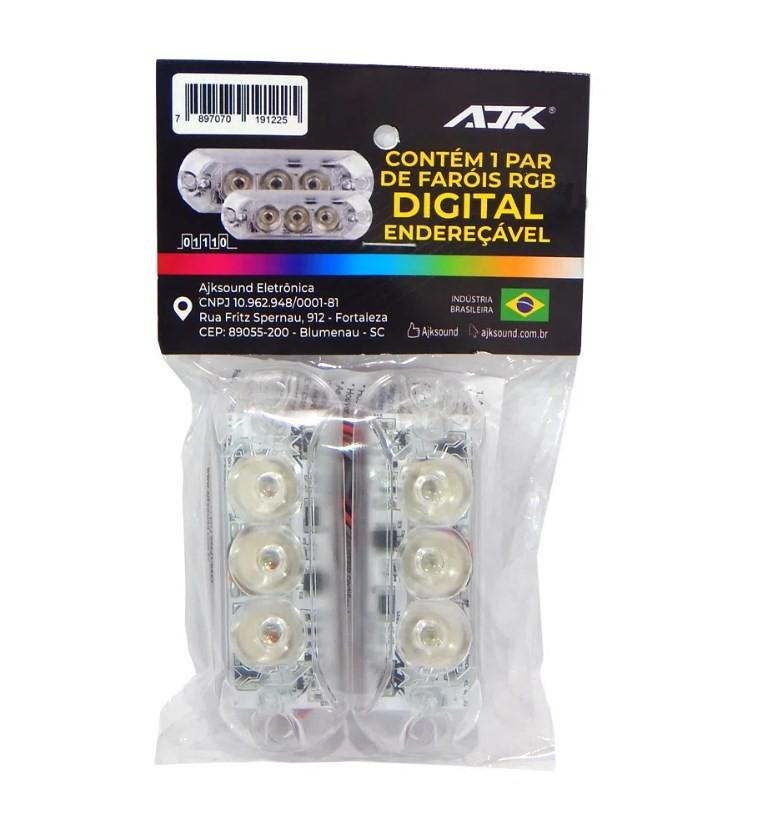 Ajk Par de Faróis RGB Digital Endereçável 3 Leds