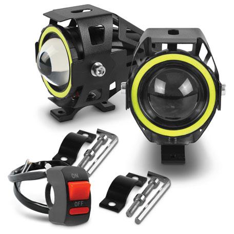 Kit Farol de Milha Shocklight - LED U7 Angel Eyes com Controle