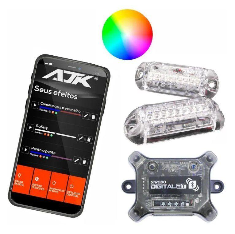 Kit Strobo Ajk Bluetooth Led 4 Geração Bt + 2 Faróis