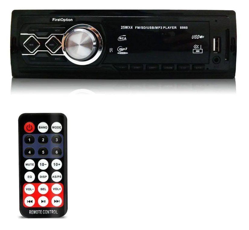 Rádio Automotivo First Option 8860 Fm Mp3 Usb Sd Cartão Mmc