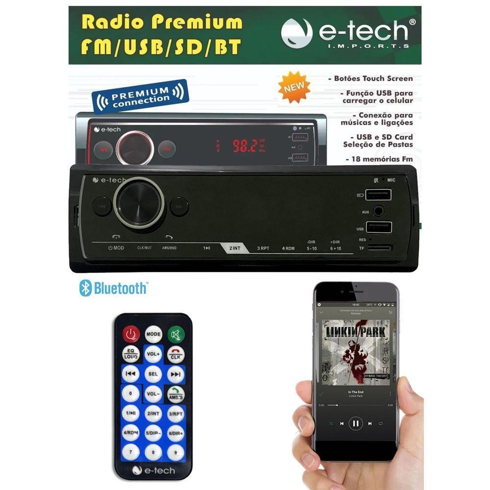 Radio Automotivo MP3 E-Tech Premium Bluetooth USB