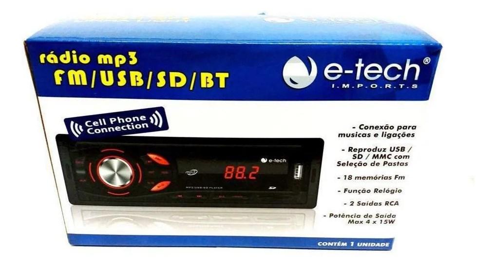 Radio Automotivo Mp3 Fm Usb Sd Bt Com Bluetooth E-tech Light