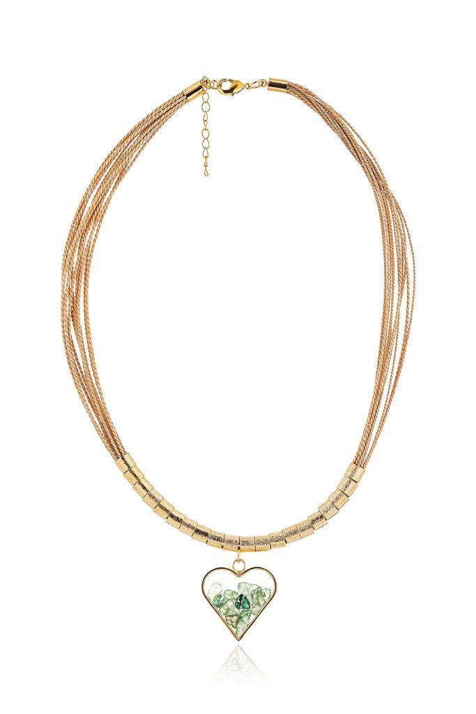 C1098 Colar Cápsula de Coração Quartzo Verde