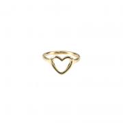 Anel Coração Liso Banhado a Ouro 18k