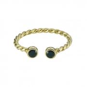 Bracelete Aro Torcido com Pedra Preta Banhado a Ouro 18k