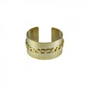 Bracelete Liso Com Detalhes em Elos Banhada a Ouro 18k