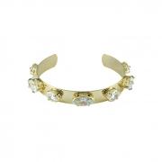 Bracelete Liso com Pedra Cristal Banhado a Ouro 18k