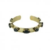 Bracelete Liso com Pedra Preta Banhado a Ouro 18k