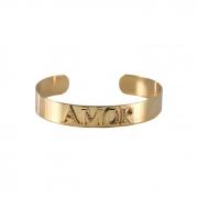 Bracelete Liso Cravejado Amor Banhado a Ouro 18k