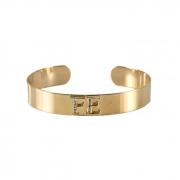 Bracelete Liso Cravejado Fé Banhado a Ouro 18k