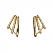 Brinco Ear Hook 3 Fileiras com Detalhes de Corda Banhado a Ouro 18K