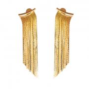 Brinco Ear Jacket Longo de Franja Folheado a Ouro 18k