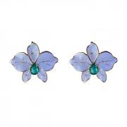 Brinco Flor Esmaltada Azul Claro com Pedra Turmalina Banhado a Ouro 18k