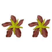 Brinco Maxi Flor Rose com Meio Amarelo Neon Banhado a Ouro 18k