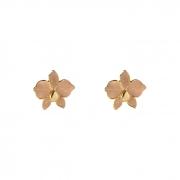 Brinco Mini Flor Esmaltada Nude Banhada a Ouro 18k