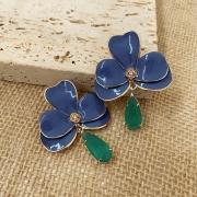 Brinco Orquídea G Esmaltada Azul Com Gota Turmalina Folheado a Ouro 18k