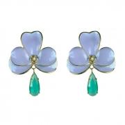 Brinco Orquídea G Esmaltada  Azul Claro Com Gota Turmalina Folheado a Ouro 18k