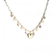 Gargantilha Coração com Mini Cristais Banhado a Ouro 18