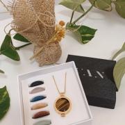 Kit Caixa das Intenções Banhado a Ródio Branco + Sachê Perfumado Bamboo
