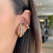 Mix Ear Hook + Piercing Esfera Cravejada
