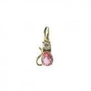 Pingente Gato Rosa Pink Banhado a Ouro 18k