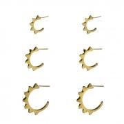 Trio de Argolinhas de Spike Banhada a Ouro 18k