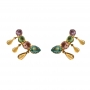 Brinco Ear Cuff 4 Pedras Coloridas Banhado a Ouro 18k