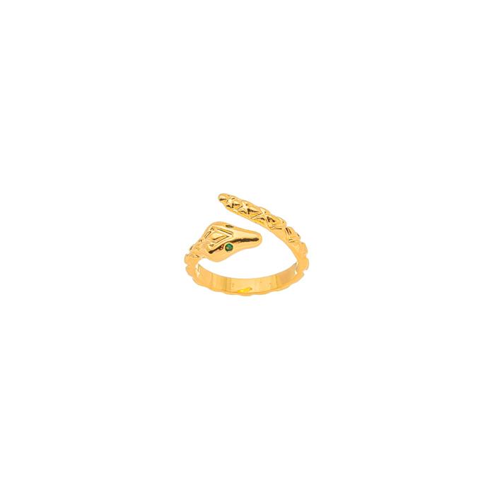 Anel Ajustável Serpente Olho de Zircônia Banhado a Ouro 18k