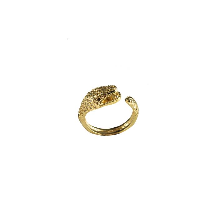 Anel Cabeça de Serpente Microcravejada Ajustável Banhado a Ouro 18k