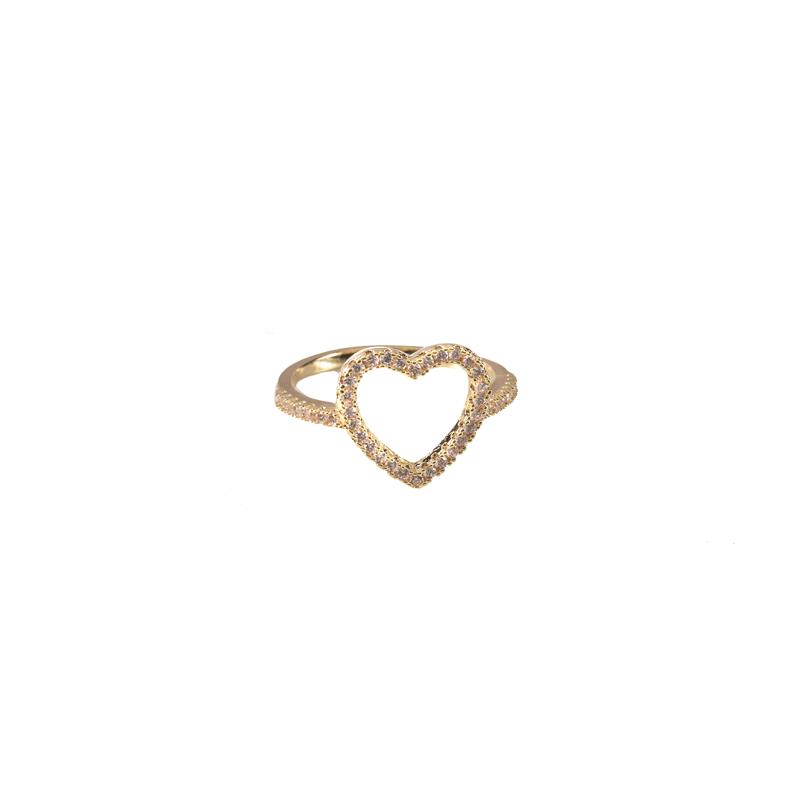 Anel Coração Microcravejado Vazado Banhado a Ouro 18k