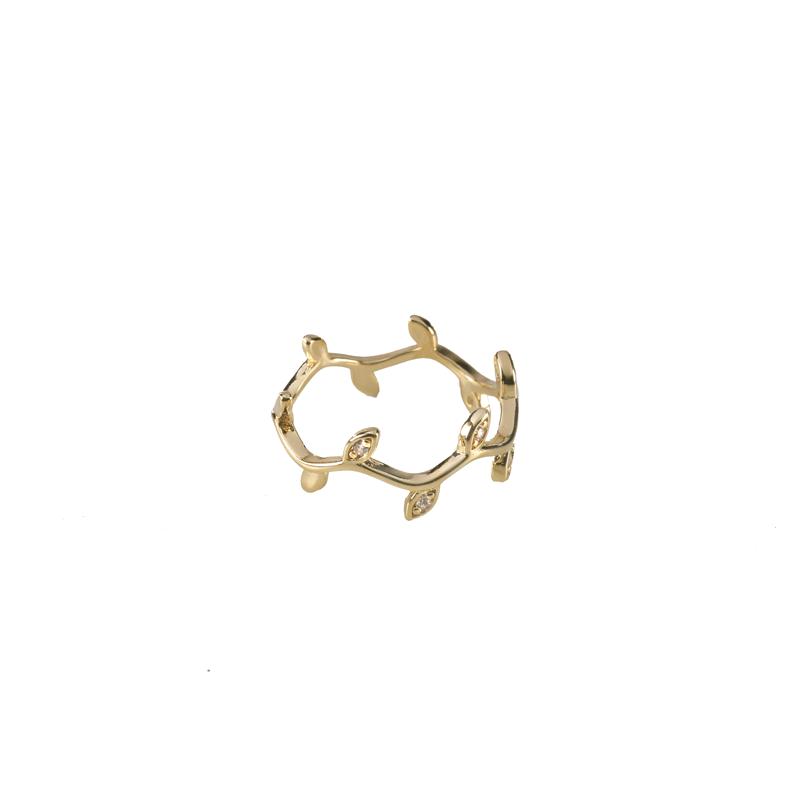 Anel Mini Folhinhas com Zircônias Banhada a Ouro 18k