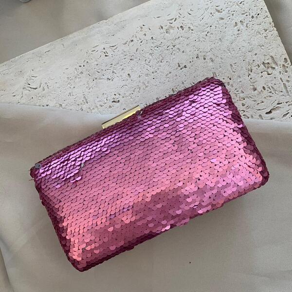 Bolsa Clutch com Paête Rosa