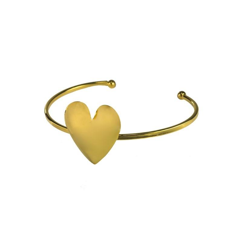 Bracelete Coração Grande Liso Folheado a Ouro18k