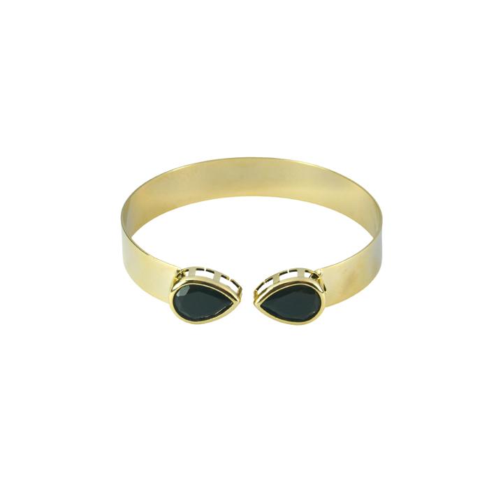 Bracelete Liso Com Gota Preta Banhado a Ouro 18k