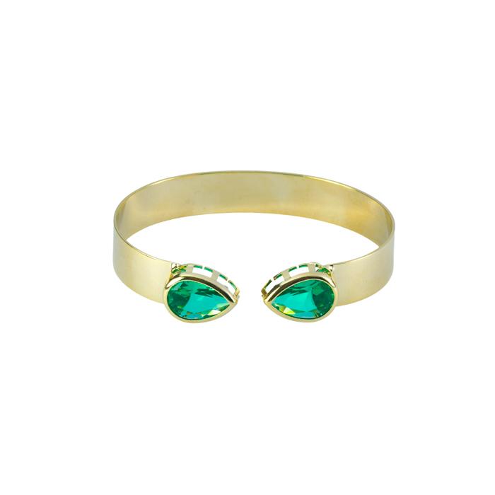 Bracelete Liso Com Gota Turmalina Banhado a Ouro 18k