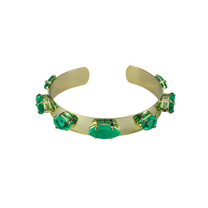 Bracelete Liso com Pedra Turmalina Banhado a Ouro 18k