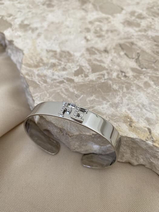 Bracelete Liso Cravejado Fé Banhado a Ródio Branco