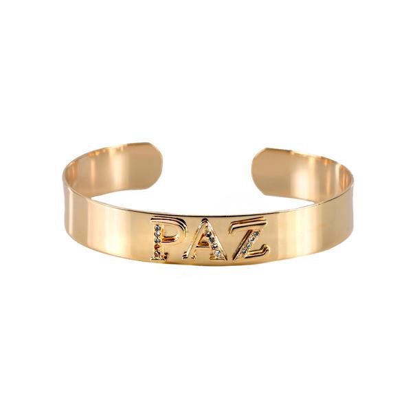 Bracelete Liso Cravejado Paz Banhado a Ouro 18k