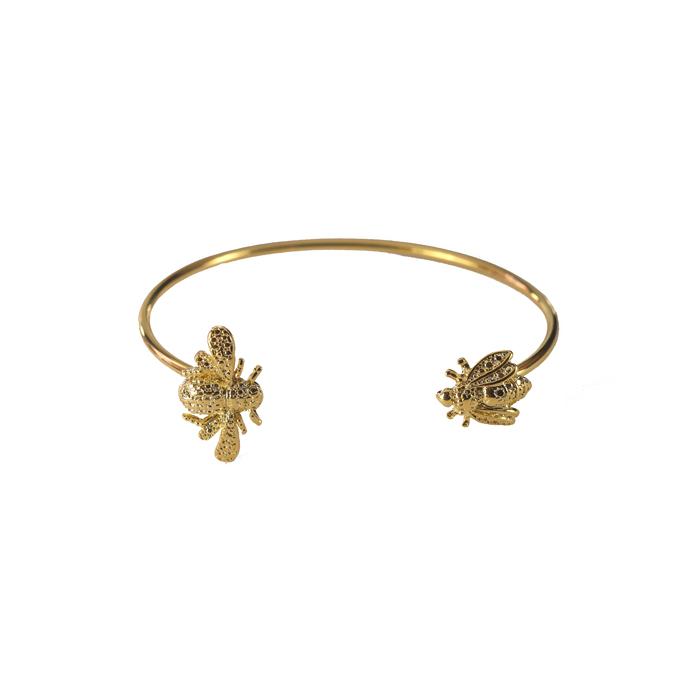 Bracelete Minimalista com Duas Abelhas Banhado a Ouro 18k