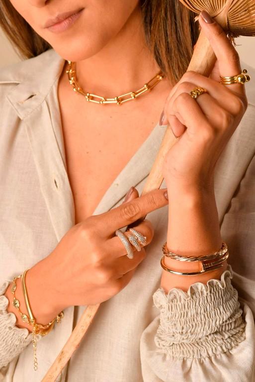 Bracelete Prego Liso Folheado a Ouro 18k