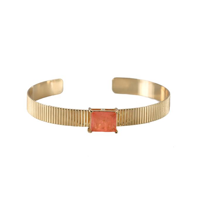 Bracelete Riscado com Pedra Rosê Banhado a Ouro 18k