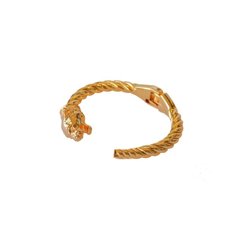 Bracelete Torcido com Um Tigre Banhado a Ouro 18k