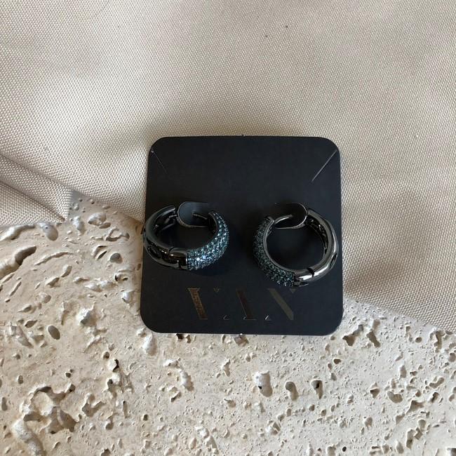 Brinco Argola Cravejado com Zircônias Azuis Banhado a Ródio Negro