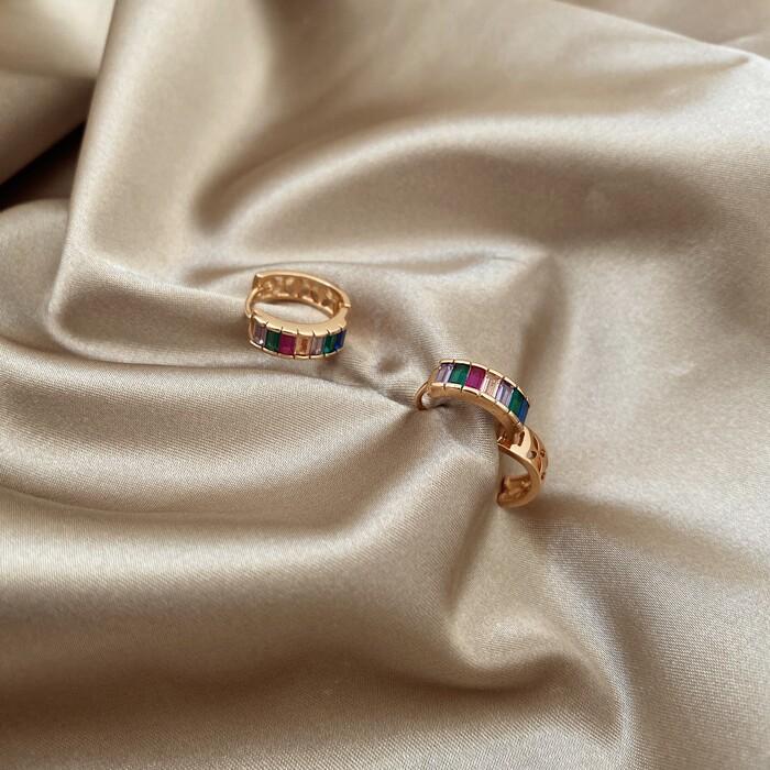 Brinco Argola Cristais Colors Banhado a Ouro 18k