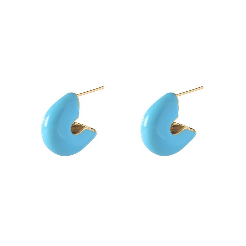 Brinco Argola Curvada Esmaltada Azul