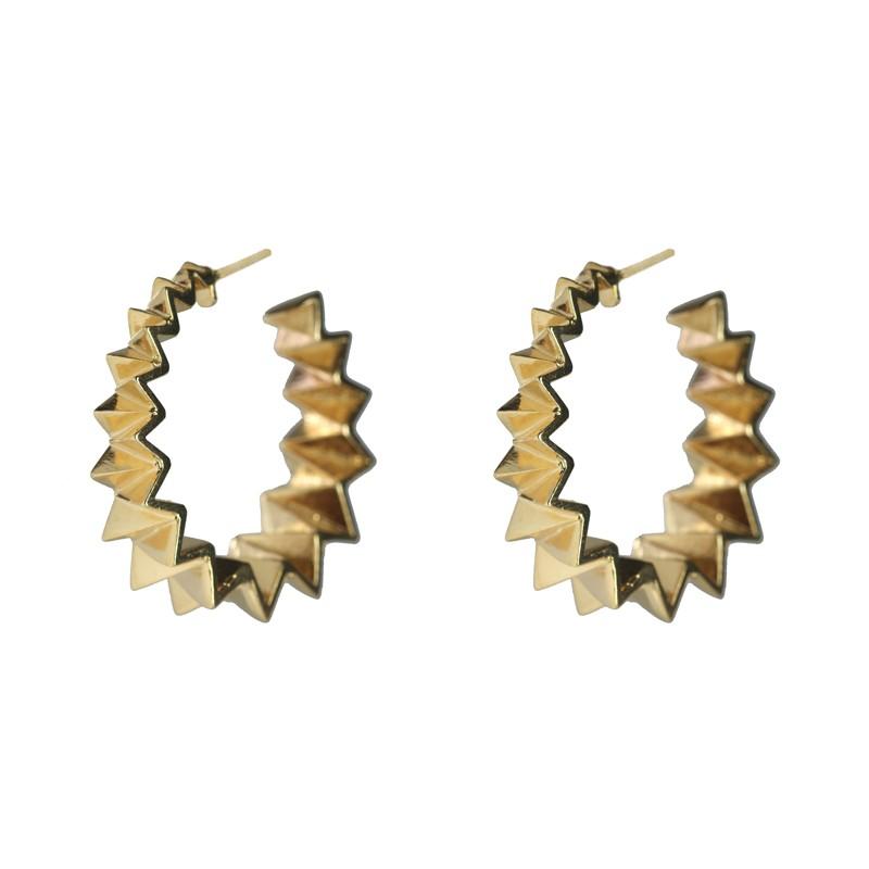 Brinco Argola Triângulos Banhado a Ouro 18k