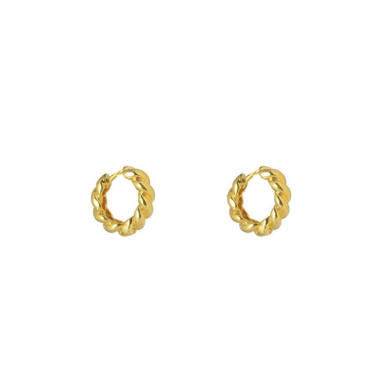 Brinco Argolinha 1,5 cm Torcida Ouro Fecho Click Folheada