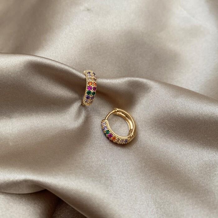 Brinco Argolinha Microcravejada Colors M Banhado a Ouro 18k