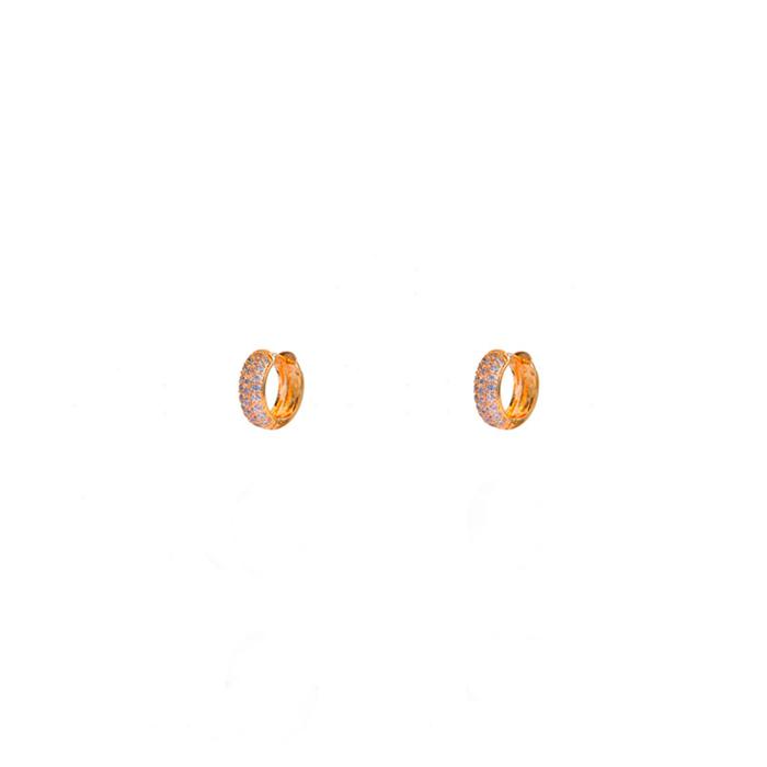 Brinco Argolinha Microcravejada P Banhada a Ouro 18k